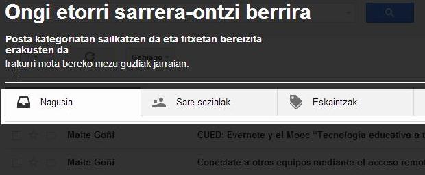 Gmail berria fitxekin, euskaraz