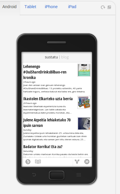 Google Currents, Android, bertikala